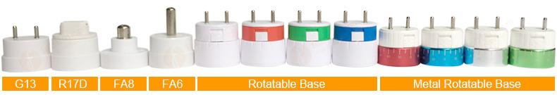 G13,R17D,FA8,FA6,Rotatable Base T8 LED Tube Light
