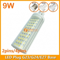 9W LED Plug Lamp G23/G24/E27 Round Shape