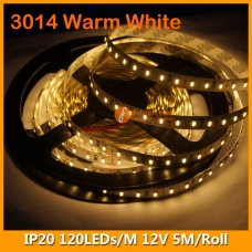 3014 Warm White IP20 LED Strip Kit 12V 120LEDs/M