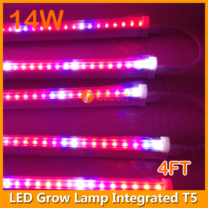 14w led grow lamp integrated t5 4ft hydroponic growing. Black Bedroom Furniture Sets. Home Design Ideas