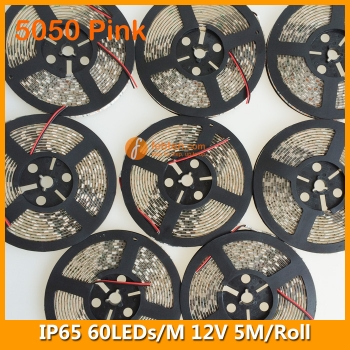 5050 Pink IP65 LED Strip Lighting 12V 60LEDs/M