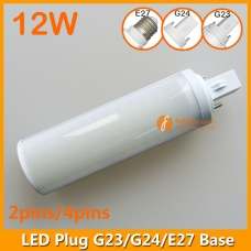 12W LED Plug Lamp G23/G24/E27 Round Shape