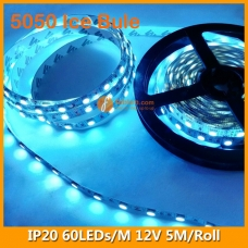 5050 Ice Blue IP20 LED Strip Lighting 12V 60LEDs/M