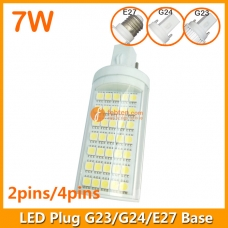 7W LED Plug Lamp G23/G24/E27 Round Shape