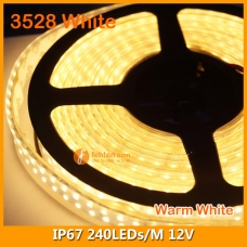 3528 White IP67 LED Strip Lamp 12V 240LEDs/M