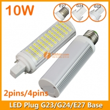 10W LED Plug Lamp G23/G24/E27 Round Shape