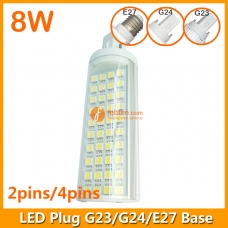 8W LED Plug Lamp G23/G24/E27 Round Shape