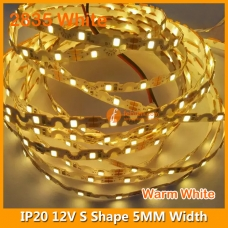2835 White S Shape LED Strip Light 12V 60LEDs/M