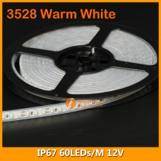 3528 Warm White IP67 LED Strip Lighting 12V 60LEDs/M