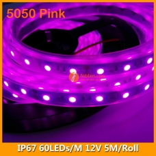 5050 Pink IP67 LED Strip Lighting 12V 60LEDs/M