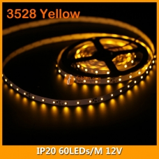 3528 Yellow IP20 LED Strip Lighting 12V 60LEDs/M